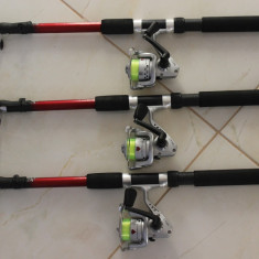 Set 3 Lansete cu 3 Mulinete + Guta Cadou Marime 3 Metri Lanseta + Mulineta, Usoare