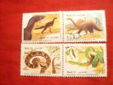 Serie- Fauna - Reptile si Dinozauri 1991= 2 straifuri ( 4 val.) Brazilia