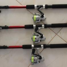 Set 3 Lansete cu 3 Mulinete + Guta Cadou Marime 2, 4 Metri Lanseta + Mulineta - Set pescuit