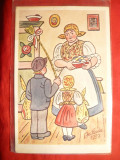 Ilustrata 1939-Gospodina prmind Colindatori de Pasti , cu oua vopsite, Circulata, Printata
