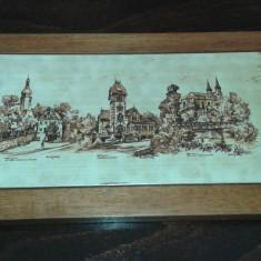 Tablou de ceramica cu rama de lemn - Arta Ceramica