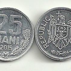 MOLDOVA 25 BANI 2015 UNC [1] livrare in cartonas, Europa, Aluminiu
