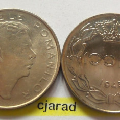 Lot/ Set Monede 100 Lei- Romania 1943 + 1944 CALITATE *cod 2270 - Moneda Romania