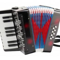 Mini acordeon pentru copii cu 17 clape, butoane 8 bas, burduf colorat