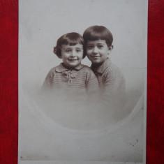 Vedere - Carte postala -  Poza veche - atelier Craiova - Copii