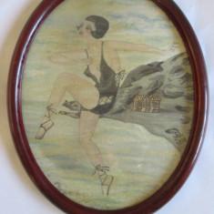 ACUARELA INRAMATA ART DECO 1931 SEMNATA INDESCIFRABIL, Portrete