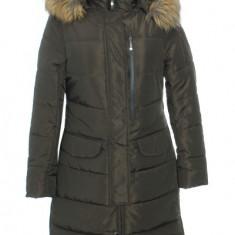 Palton dama vatuit, cu gluga si blanita, art.33252F, khaki, Marime: XXL, XL, L, M, S, Poliester
