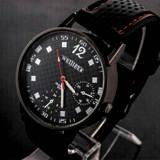 Ceas de mana negru casual/sport, curea cusatura rosie.Model unisex.