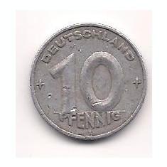 No(2) moneda- Germania DDR- 10 Pfening 1949, Europa, Aluminiu