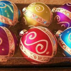 Ornamente - Globuri cu design special set /8 buc - globuri de sticla (POZ 4) - Globuri brad
