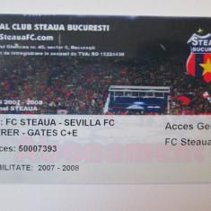 RAR! CARD PLASTIC/ABONAMENT STEAUA 2007-2008 FIRMA:FC STEAUA-SEVILLA FC - Program meci