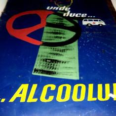 Afis vechi realizat pe tabla, cu tematica antialcool ( pentru automobilisti )