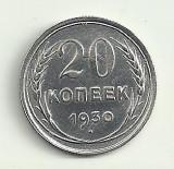 RUSIA URSS 20  COPEICI  KOPEEK  1930  ARGINT 500 / 1000 [4]  XF+ , in  cartonas, Europa