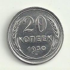 RUSIA URSS 20 KOPEICI COPEICI KOPEEK 1930 [4] Argint, XF+, Europa