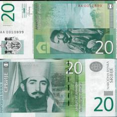 SERBIA- 20 DINARI 2013- P 55- UNC!! - bancnota europa