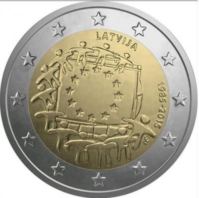LETONIA 2 euro comemorativa 2015 - drapel European, UNC foto