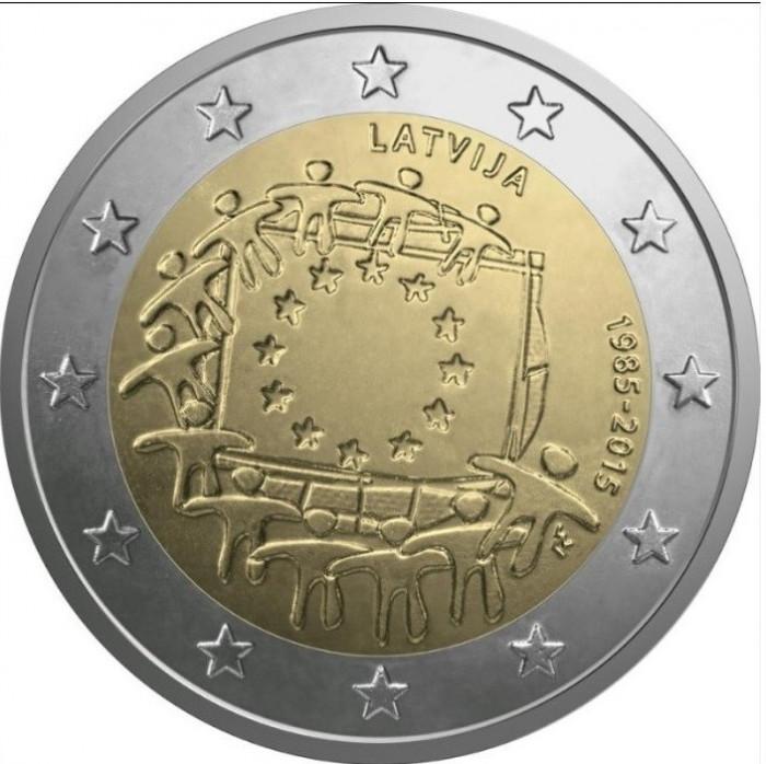 LETONIA 2 euro comemorativa 2015 - drapel European, UNC