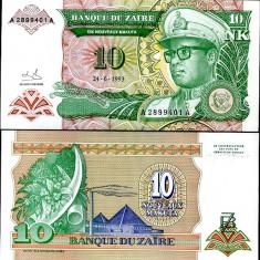 ZAIR- 10 NOUA MAKUTA 1993- P 49- UNC!! - bancnota africa