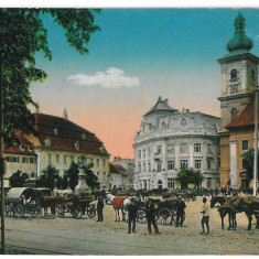 2989 - SIBIU, Market, carts - old postcard - used - 1916 - Carte Postala Transilvania 1904-1918, Circulata, Printata