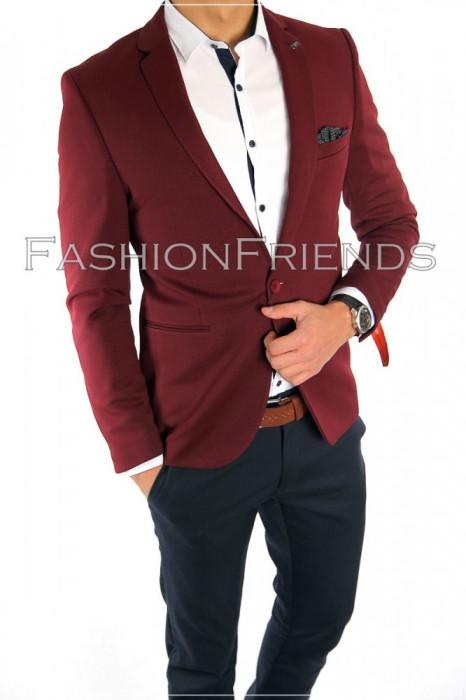 Sacou tip Zara Man grena - sacou barbati- sacou casual elegant- cod 5588 foto mare