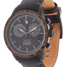 Ceas original Cerruti CRA096G222G nou, factura - Ceas barbatesc Cerruti, Elegant, Quartz, Inox, Piele, Cronograf