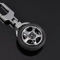 Breloc modern forma roata auto pentru mercedes  + cutie simpla cadou, Mercedes-Benz