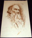 Tolstoi - semnat Gheorghe Nistor 1947, grafica tus sepia, portret in penita
