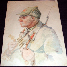 Eroul - Acuarela anii 50, grafica propaganda militara, ilustratie de carte - Tablou autor neidentificat, An: 1950, Portrete, Impresionism