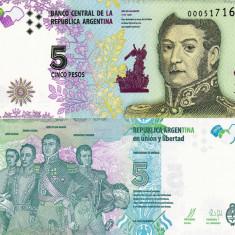 ARGENTINA 5 pesos 2015 UNC!!! - bancnota america