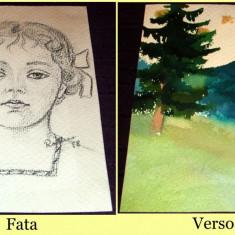 Peisaj & Fetita - Acuarela si schita creion 1958, grafica ilustratie de carte - Tablou autor neidentificat, An: 1960, Natura, Impresionism