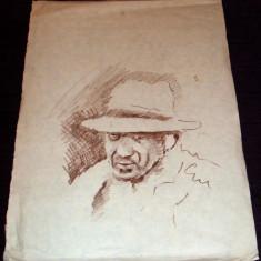 Barbat cu palarie - Schita portret carbune anii 60, grafica ilustratie de carte - Tablou autor neidentificat, An: 1960, Portrete, Impresionism