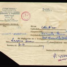 1949 Adresa COMCEREAL, colectarea cerealelor, leguminoaselor si oleaginoaselor