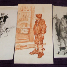 Set 3 reproduceri in acuarela dupa Tablouri celebre, ilustratii de carte anii 50 - Reproducere, Portrete