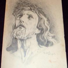 Mantuitorul - Grafica religioasa Ghe Nistor 1947 Gherla, ilustratie de carte - Pictor roman, Religie, Carbune, Impresionism