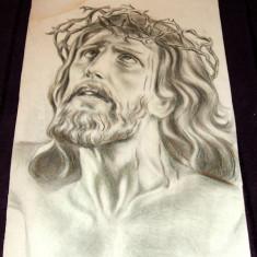 Suferinta lui Isus Hristos - Pastel grafica religioasa, ilustratie carte anii 60 - Tablou autor neidentificat, An: 1960, Portrete, Impresionism