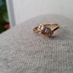 Superb inel 9K GOLD FILLED cu zircon CZ. Marimea 7 - Inel placate cu aur
