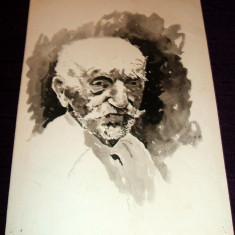 Senectute (I) - Portret acuarela anii 60, grafica ilustratie de carte - Tablou autor neidentificat, An: 1960, Portrete, Impresionism