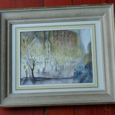 Tablou cu rama din lemn, passpartout si sticla - peisaj citadin !!!! - Pictor strain, Peisaje, Acuarela, Realism