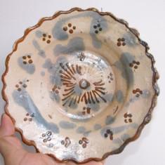 Farfurie saseasca din lut,zona Bistrita.Piesa de la jumatatea sec.XIX.