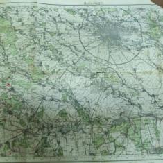 Bucuresti harta color reimprimare 1942 a datelor din 1902 corectate in 1939 - Harta Romaniei