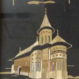 Manastirea Voronet - Artizanat din perioada comunista cu rama din lemn si sticla