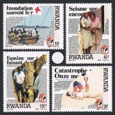 RWANDA 1988 CRUCEA ROSIE - Timbre straine, Nestampilat