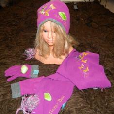 Set accesorii iarna, fetite, Tinkerbell, 3-5 ani, 3 piese. - Caciula Copii, Culoare: Mov, Marime: XXS