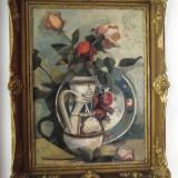 Natura statica cu trandafiri si ceramica transilvaneana semnat Pericle Capidan - Pictor roman, Flori, Ulei, Realism