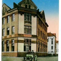 124 - Maramures, SIGHET, High School, old car - old postcard - unused - 1917, Necirculata, Printata