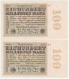 (2) 2 BANCNOTE GERMANIA - 100 MILLIONEN MARK 22.08.1923 - SERII CONSECUTIVE,aUNC