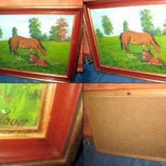 TABLOURI VECHI . Tablou cu cai, iapa cu manz pe pajiste semnat Kauer-ulei/carton - Pictor strain, An: 1930, Peisaje, Altul