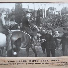 Foto din 1938, Cap. Topescu si Mussolini, concurs hipic, diploma semn. Carol II - Fotografie veche