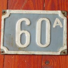 Vintage - placa din tabla / numar de casa - 60 A in relief !!!! - Metal/Fonta