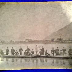 ADA KALEH FOTO VECHE URIASA 1890 1906 GRANICERI AUSTRO UNGARI 386X300 MM - Fotografie, Militar, Romania pana la 1900